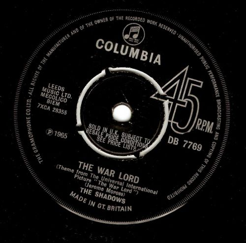 THE SHADOWS The War Lord Vinyl Record 7 Inch Columbia 1965